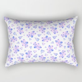 Watercolor Gingerbread Cookies in Pink + Blue Pastel Rectangular Pillow