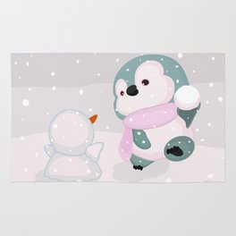 Baby Penguin and Snowman Rug