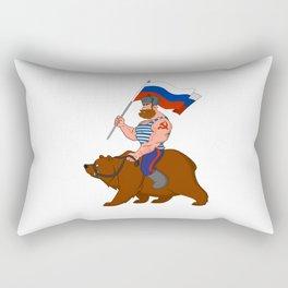 Russian riding a bear. Rectangular Pillow