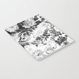 Black gray modern watercolor roses floral pattern Notebook