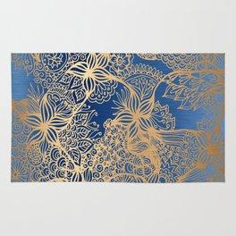 Blue and Gold Zen Doodles Rug