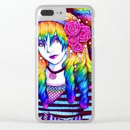 Rainbow Hair Clear iPhone Case