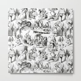 Alice in Wonderland | Toile de Jouy | Black and White Metal Print