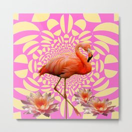 Pink & Cream Flamingo Water lilies Optical Art Metal Print