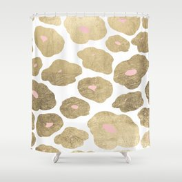 Elegant pink faux gold abstract leopard animal print Shower Curtain