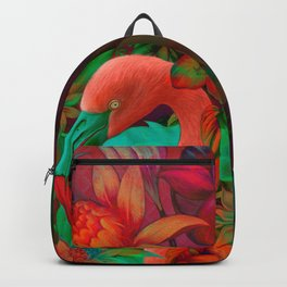 """Tropical Floral Retro Flamenco"" Backpack"