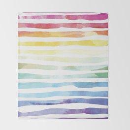 Colorful rainbow watercolor print Throw Blanket