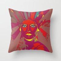 medusa Throw Pillows featuring MEDUSA by Julia Lillard Art