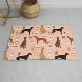 Greyhound coffee dog breed illustration dog art custom dog breeds groundhound rescue dog lovers Rug