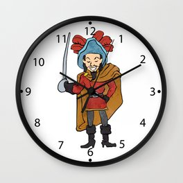 Musketeer Cape with Saber Cartoon Wall Clock