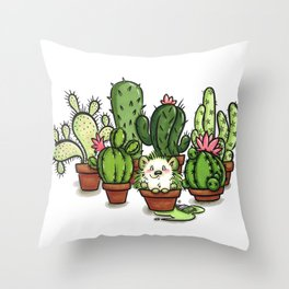 Green - Cactus and Hedgehog Throw Pillow