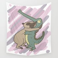 hug Wall Tapestries featuring Hug by Roman Jones