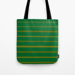 Emerald Green and Honey Gold Thin Stripes Tote Bag