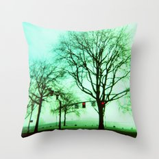 Green Fog Throw Pillow