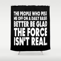 humor Shower Curtains featuring The Force  |  Jedi Humor by Silvio Ledbetter