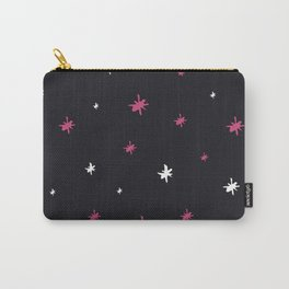 Hand painted black pink white modern abstract stars Carry-All Pouch