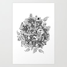 Astronaut Wolf In Space Art Print