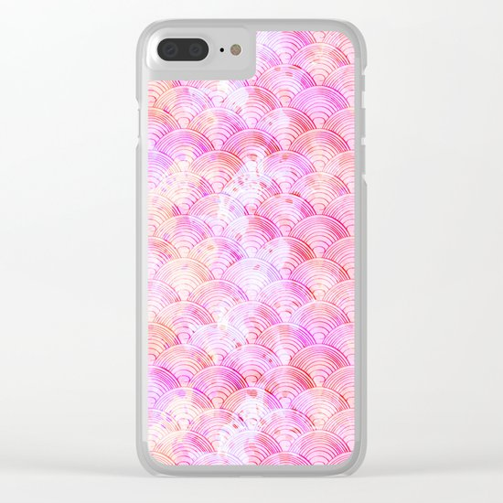 Pink waves pattern Clear iPhone Case
