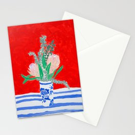 Protea Still Life in Red and Delft Blue Stationery Cards