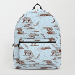 Grizzly Bears Fishing for Salmon (Light Blue and Brown) Backpack
