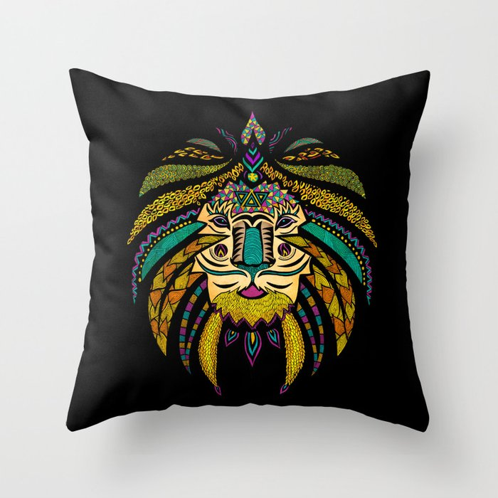 Black Tribal Throw Pillow : Tribal Lion on Black Throw Pillow by pomgraphicdesign ...