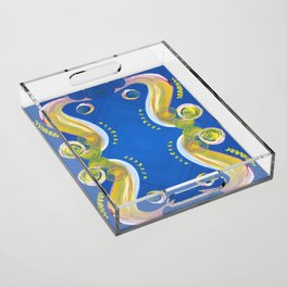 Transitions - Yellow Blue Reflections - Safe or Trapped? Acrylic Tray