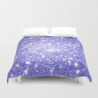 lavender Duvet Covers featuring Lavender Periwinkle Sparkle Stars by Whimsy Romance & Fun