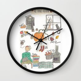 All Things Autumn Wall Clock