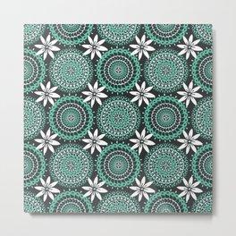 Retro Green Blue White Polynesian Floral Mini Mandalas Metal Print