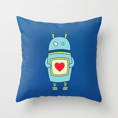 Blue Cartoon Robot With Heart Throw Pillow
