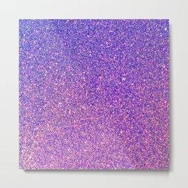 Navy Blue Pink Sparkles Metal Print