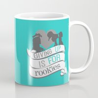 hercules Mugs featuring hercules.. giving up is for rookies... meg and hercules by studiomarshallarts