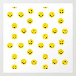 Smiley faces white yellow happy simple smiley pattern smile face kids nursery boys girls decor Art Print