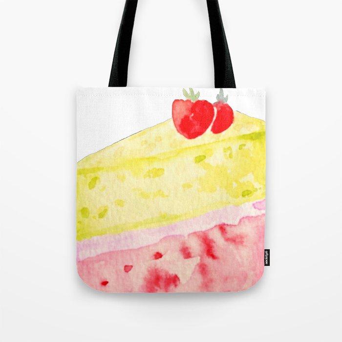 Lemon & Strawberry Cake Tote Bag