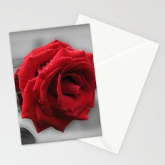 red rose and rain Stationery Cards