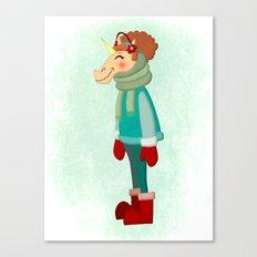 Cozy Scarf Unicorn Canvas Print