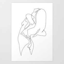 One line nude - e 5 Art Print