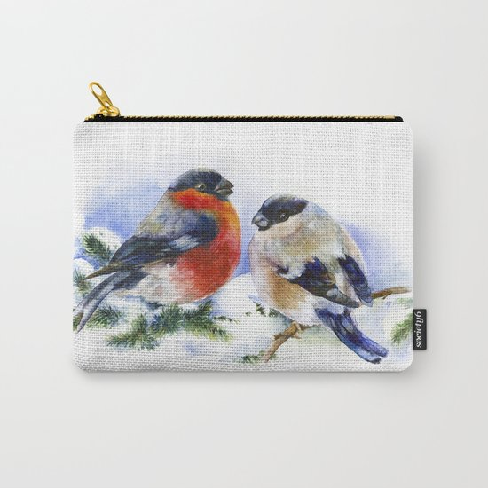 Bullfinches in winter time. Christmas Watercolor Art Carry-All Pouch