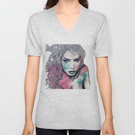 No Hope In Sight: Purple (tattoo girl portrait) Unisex V-Neck
