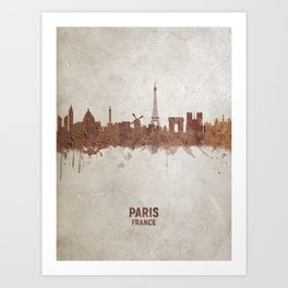 Paris France Rust Skyline Art Print
