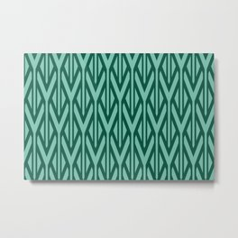 Triangles pattern Stripes geometry Graphic - Turquoise Metal Print