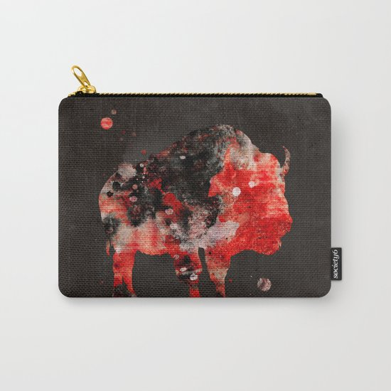 Watercolor Buffalo Bison Painting Black Red Grunge Carry-All Pouch