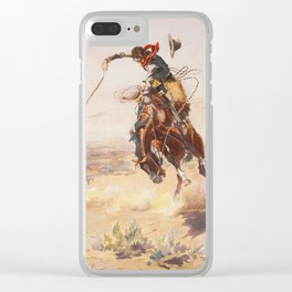 A Bad Hoss by Charles Marion Russell (c 1904) Clear iPhone Case