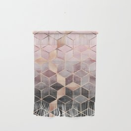 Pink And Grey Gradient Cubes Wall Hanging