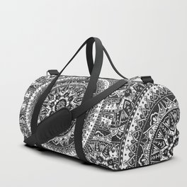Black and White Mandala Pattern Duffle Bag