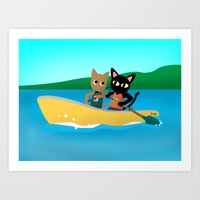 rowing Art Prints featuring Rowing by BATKEI