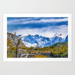 Snowy Andes Mountains, El Chalten, Argentina Art Print