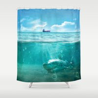 kpop Shower Curtains featuring Blue by SensualPatterns