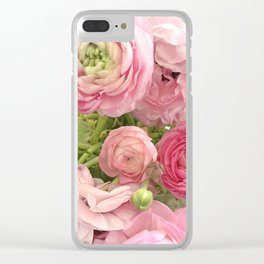 Shabby Chic Cottage Ranunculus Peonies Roses Floral Print Home Decor Clear iPhone Case