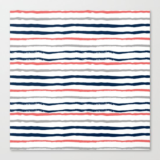 Minimal stripes painted stripe pattern navy modern trendy color palette nursery Canvas Print